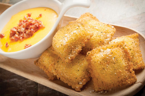 Toasted Sausage & Cheese Ravioli with  Bacon, Beer and Cheddar Dip