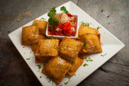 Toasted Sausage Ravioli with Roasted Pepper and Onions
