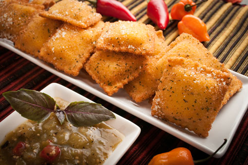 Toasted Cheese Ravioli with Tomatillo Sauce