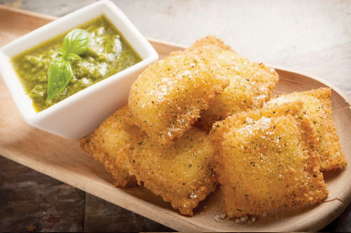 Toasted 4 Cheese Ravioli with Basil Pesto