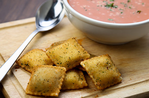 Toasted Cheese Ravioli & Tomato Basil Soup