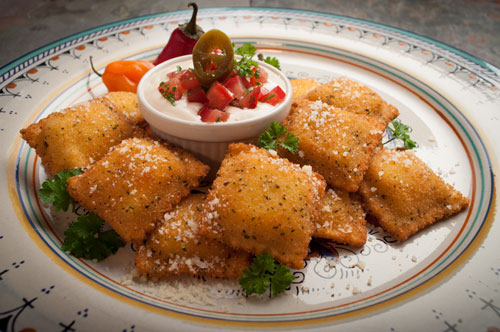 Toasted Beef & Cheese Ravioli with Queso Blanco