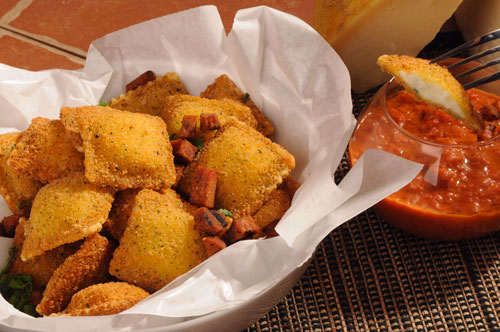 Toasted Ravioli with Meat sauce