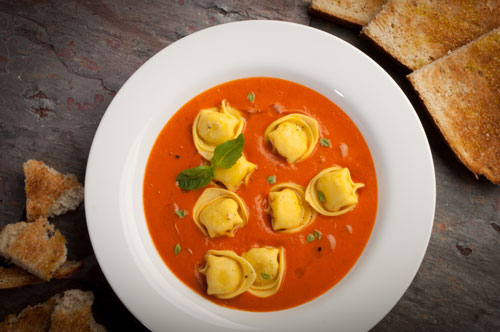 Cheese Tortellini with Tomato-Basil Bisque