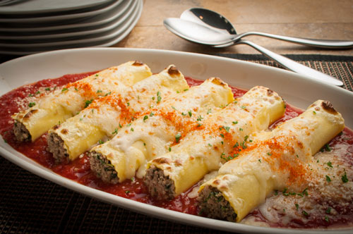Beef & Pork Cannelloni with Smoked Cheese and Tomato Sauce