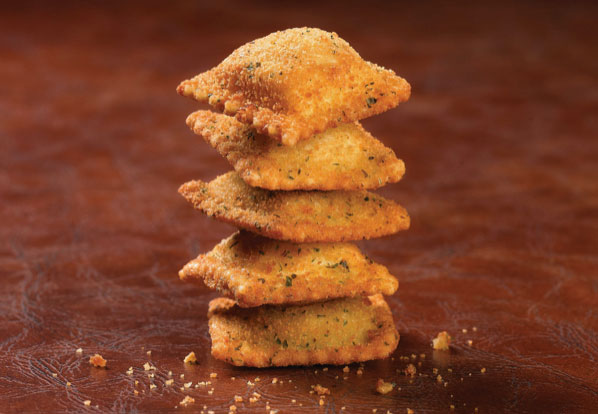 a stack of toasted ravioli